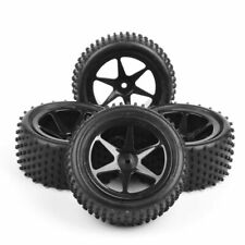 4Pcs Front Rear Rubber Tires &Wheel For HSP 1:10 RC Buggy Off Road Car 12mm Hex