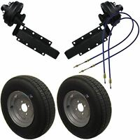 """750kg Braked Trailer Suspension Units with 10"""" Wheels & Tyres Brake Cables"""