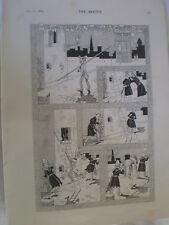 Un ladrón Galante capturar Rene Bull policías dibujos animados 1894 antiguos impresión mi ref R