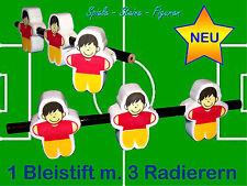 Football Table Crayon à Papier, 1 à Papier + 3 à Effacer, avec Gomme à Effacer