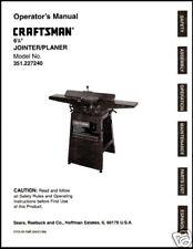Craftsman 6 1/8 Jointer Operators Manual No.351.227240