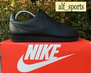 ❤ BNWB & Genuine Nike ® Classic Cortez Leather Triple Black Trainers UK Size 9