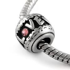 Stainless Steel Heart European Bead Heart Charm Love Bead Fits Charm Bracelets