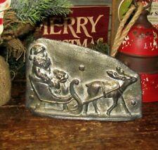 Primitive Antique Style Christmas Santa Claus Sleigh Resin Chocolate Candy Mold