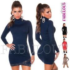 Sexy Womens Turtleneck Jumper Mini Dress Sweater Hot Knitwear Size 6 8 10 XS S M