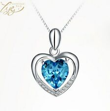 Heart Pendant Necklace Gift Box E7 Fashion 925 Sterling Silver Blue Crystal Love