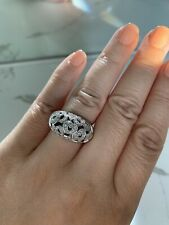 Estate Natural Diamond Cocktail Ring Sterling Silver Platinum Overlay Sz 7