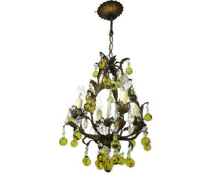 Bohemian Chic Chandelier Green clear Prisms Wrough Iron Art Glass Vintage Lovely