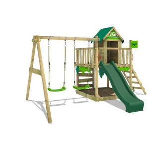 FATMOOSE JazzyJungle Jam XXL Wooden ClimbingFrame SuperSwing & green Slide