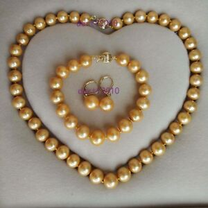 AAA 11-12 mm south sea gold bracelet pearl necklace Earrings 14k gold clasp set