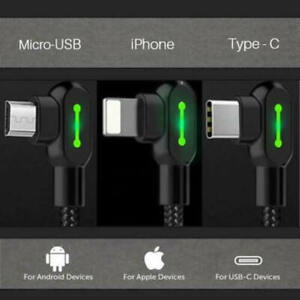 IOS Type C Micro 90 Degree Right Angle Charging USB Fast Data Sync Charger Cable