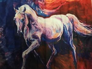 "NEW 60""x52"" White Horse Oil Painting Look Multicolor Tapestry Wall Decor w/Clips"