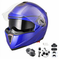 AHR DOT Full Face Flip Up Modular Motorcycle Helmet 2 Visor Bluetooth Headset XL
