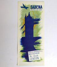 SABENA Air Route BRUXELLES-LONDON Vintage Ancien document Belgian World Airlines