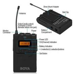 1 x BOYA BY-WM6 Lavalier Clip Wireless RECEIVER ONLY 608-613Mhz UHF - UK stock