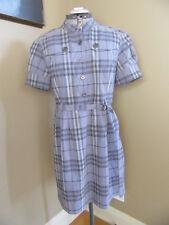 Burberry London Violet Plaid Short Sleeve Button Down Knee Length Dress Size 12
