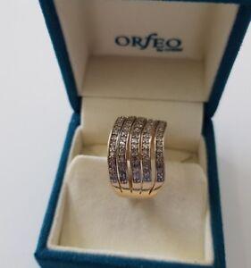 585 or Jaune Moitié Mémoire Anneau Diamants 1,0ct