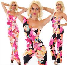 Overall tuta intera jumpsuit donna scollatura asimmetrica floreale nuovo