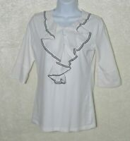 CAbi #191 Tip Top Blouse Ruffle Button 3/4 Sleeve Women's Small