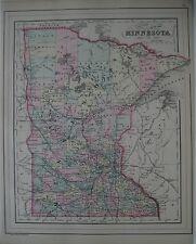 Original 1887 Bradley MINNESOTA County Map Steamboat Wagon Road Chippewa Sioux