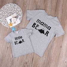 Toddler Baby Kids Boys Family Matching Set Bear T-shirt Tops Outfits UK Stock