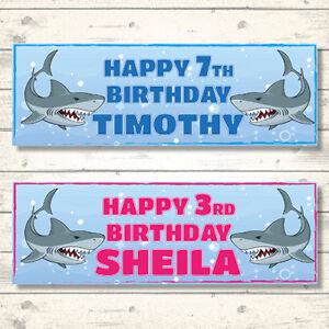 2 PERSONALISED SHARK BIRTHDAY BANNERS - PINK OR BLUE - ANY NAME - ANY AGE