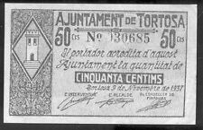 Ayuntamiento de TORTOSA 50 Centimos Noviembre 1937 @ Baix Ebre - Tortosa @