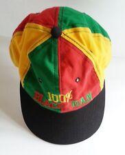 "REGGAE RASTA JAMAICAN ""100% BLACK MAN"" Snap Back Vintage Cap Hat Urban HipHop"