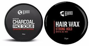 New Activated Charcoal Deep Cleansing Face Scrub 100g & BEARDO Hair Wax 75g @US