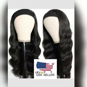 "Headband Body Wavy 100% Brazilian Human Hair Wig Black Non Lace Front Wig 18"""