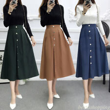 Korean Fashion Women A Liine High Waist Buttons Casual Pleated  Midi Skirt Dress