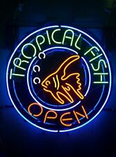 """New Tropical Fish Open Neon Light Sign 24""""x24"""" Lamp Poster Real Glass"""