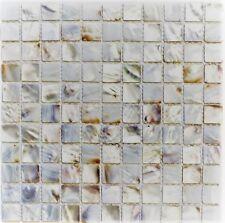 Muschelmosaik Perlmutt Mosaik weiss beige Küche Wand BAD WC 150-SM2525|10Matte
