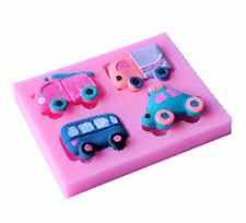 Vehicles Truck Fire Engine Car Bus 4 Cavity Silicone Mold