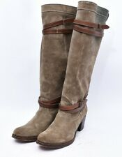 Frye Jane Strappy Suede Knee High Riding Biker Work Belted Boots Womens Sz 9