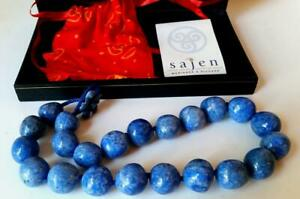 New SAJEN Lapis Lazuli Beads Choker Necklace Blue Stones