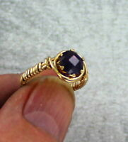 Amethyst Gemstone Ring in 14kt. Rolled Gold  Size 5 to 15  Wire Wrapped