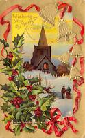 Merry Christmas Xmas 1913 Embossed Postcard Bells Church Holly