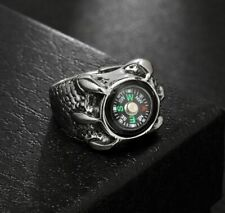 Men Gothic Stainless Steel Ring Dragon Claw Ring Punk Style Compass Ring Fashion