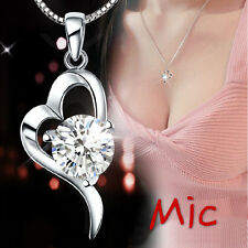 925 Gift Silver Heart Love Pendant Swarovski Element Chain Crystal Necklace