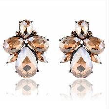 Fashion Crystal Rhinestone Earrings Ear Clip Stud Dangle Drop Elegant Jewelry