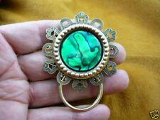 (#E756) Green Paua shell Eyeglass pin pendant ID badge holder