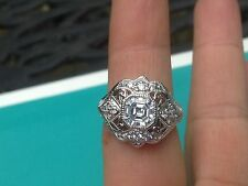 Sterling Silver Round & Asscher Cut Cubic Zirconia Art Deco Style Ring    Size 8