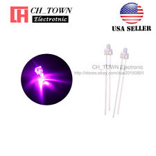 100pcs 2mm LED Diodes Water Clear Pink Light Round Top Transparent USA
