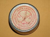 VINTAGE RIFLE BULLETS NAVY ARMS CO MADE IN GERMANY WING  MUSKET CAPS TIN *EMPTY*
