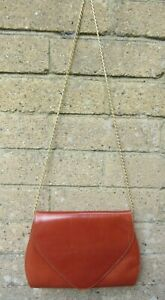 Ladies Brown Vintage Handbag With Gold Coloured Chain Strap-Italy