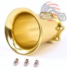 "Brass Gold Billet Velocity Stack 4"" CV Carb Carburetor & EFI Air Intake Harley"