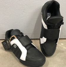DZR Shoes Flat Laced Clipless Black/White Urban Cycling Shoes Us 12 EU 45 New!