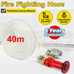 """AU Fire Fighting Hose 40m 1.5"""" Lay Flat Canvas Camlock Adjustable Nozzle Fitting"""