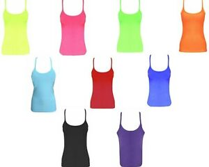 Ladies Girls Neon Lycra vest Top Stretchy Casual Tutu Strappy Cami crop gym Tank